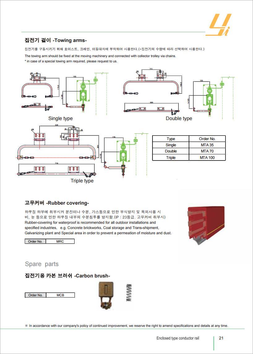 THIẾT BỊ CẦU TRỤC MTT HÀN QUỐC RAY ĐIỆN HỘP VUÔNG MCL -CONDUCTOR RAIL (MCL TYPE)