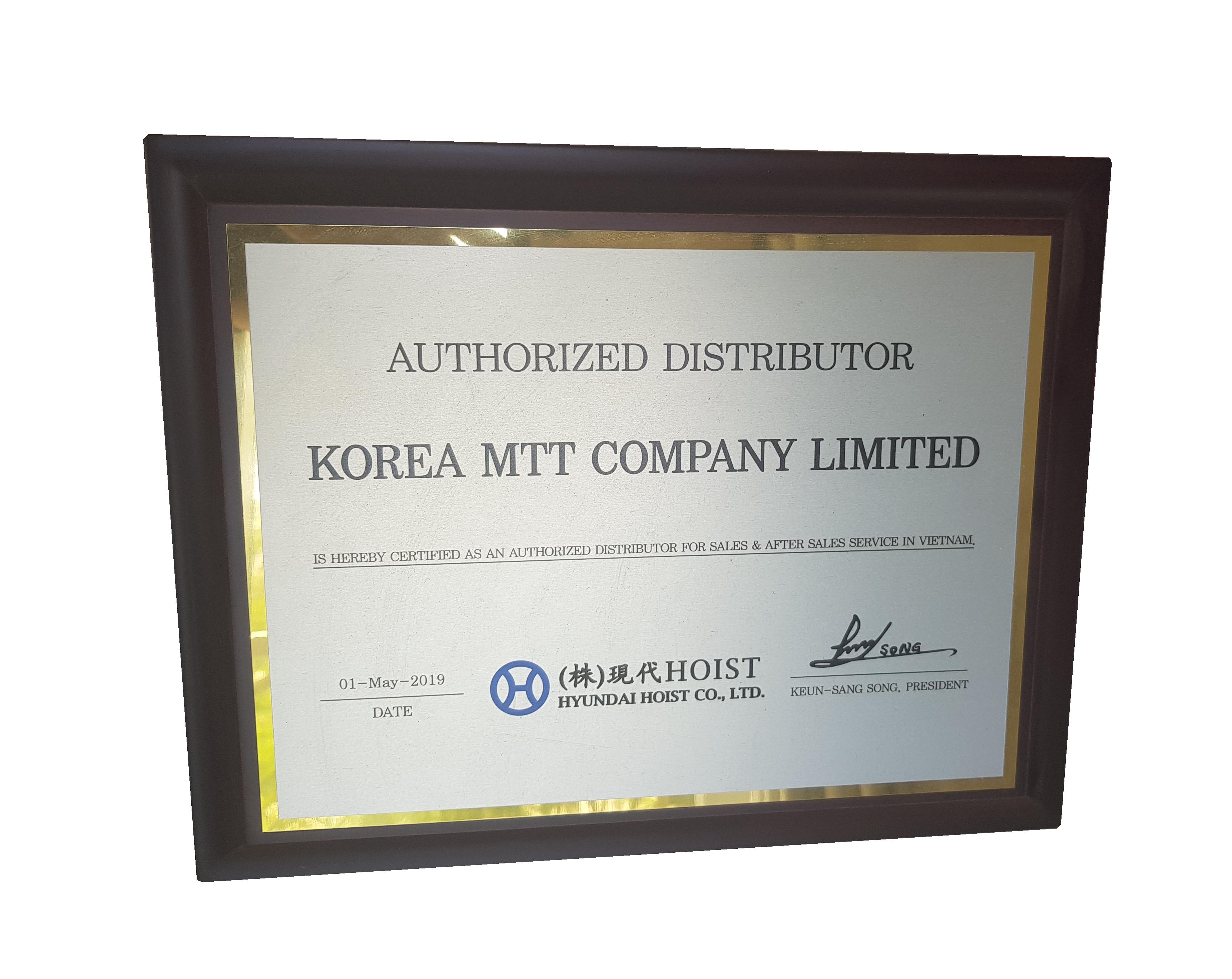 Thiết Bị Cầu Trục MTT Hàn Quốc CHỨNG NHẬN DOANH NGHIỆP-대리점 패